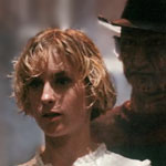 Amanda Wyss is stalked by Robert Englund in A Nightmare on Elm Street.